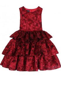 Жаккардовое платье с бантом Oscar de la Renta