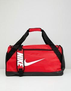 Красная сумка дафл с логотипом-галочкой Nike - Красный