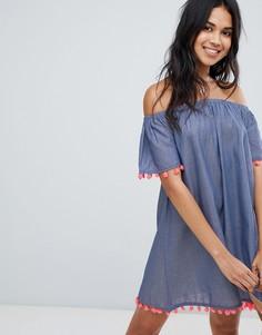 Пляжное платье из шамбре с открытыми плечами и отделкой помпонами Anmol - Синий