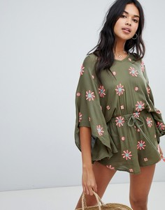 Anmol Oversized Beach Playsuit With Floral Embroidery - Зеленый