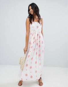 Пляжное платье макси с цветочной вышивкой и отделкой Anmol - Белый