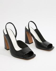 Кожаные босоножки на каблуке ASOS DESIGN Hinton Premium - Черный