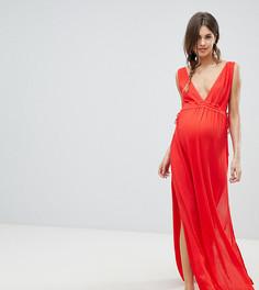 Пляжное платье из жатой ткани со сборками на талии ASOS DESIGN Maternity - Красный