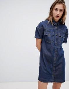 Джинсовое платье в стиле вестерн с необработанным краем Levis - Синий