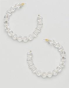 Золотистые серьги-кольца с резиновыми бусинами ASOS DESIGN - Золотой