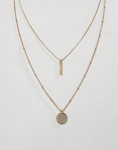 Золотистое ожерелье в несколько рядов с подвеской-планкой и дисками ASOS DESIGN - Золотой