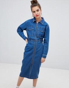 Синее джинсовое платье в стиле милитари ASOS DESIGN - Синий
