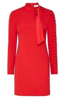 Красное платье с объемной отделкой Red Valentino