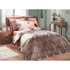 Набор для спальни Hobby home collection Delfina-Carmen покрывало + КПБ 2-х сп. поплин коричневый/персиковый (1501000094)