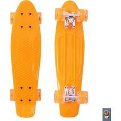 Скейтборд RT 171207 Classic 26 68х19 YWHJ-28 пластик со светящимися колесами цвет оранжевый