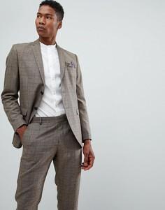 Облегающий пиджак в клетку Selected Homme - Коричневый