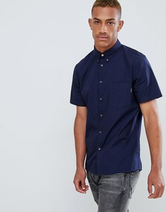 Темно-синяя оксфордская рубашка в стиле casual с короткими рукавами PS Paul Smith - Темно-синий