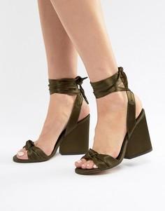 Босоножки на каблуке с узелками ASOS DESIGN Hazy - Зеленый