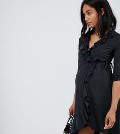Платье с запахом и оборками Mamalicious - Синий Mama.Licious