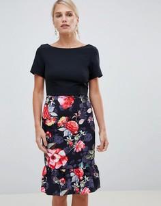 Платье 2 в 1 с цветочным принтом на юбке Paper Dolls - Черный