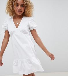 Ярусное хлопковое платье свободного кроя ASOS DESIGN Petite - Белый