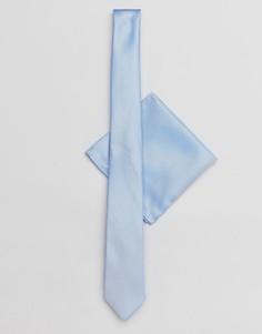 Синие галстук и платок для нагрудного кармана New Look - Синий