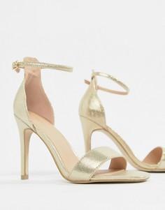 Босоножки на каблуке с квадратным носком New Look - Золотой