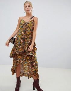 Платье с запахом и цветочным принтом Vila - Мульти