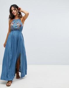 Платье макси с вышивкой Raga Lucita - Синий