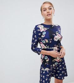 Чайное платье мини с принтом Little Mistress Petite - Мульти