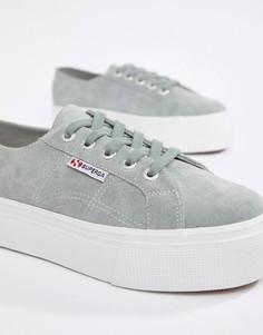Серые замшевые кроссовки на платформе Superga 2790 - 4 см - Серый