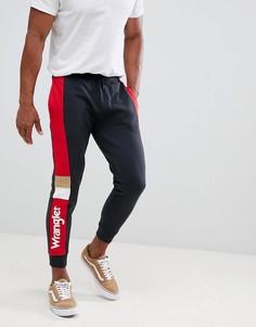 Черные спортивные штаны с выцветшим эффектом и логотипом Wrangler - Черный