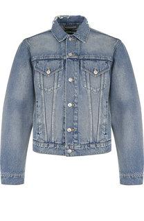 Джинсовая куртка с потертостями на пуговицах Balenciaga