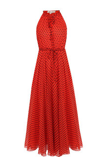 Шелковое платье в горох с поясом Diane Von Furstenberg