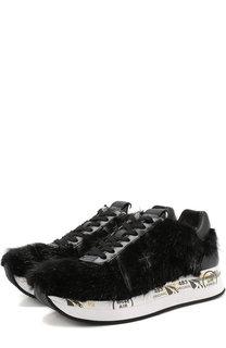 Кожаные кроссовки Conny с отделкой из меха норки Premiata