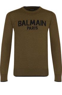 Шерстяной джемпер с логотипом бренда Balmain