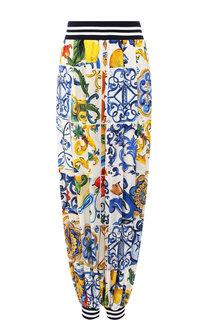 Брюки из смеси шелка и хлопка с принтом Dolce & Gabbana
