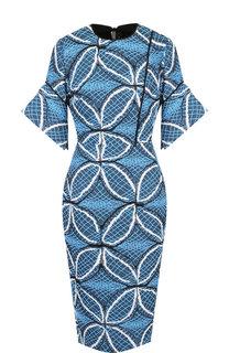 Приталенное платье из смеси хлопка и шелка с декоративной вышивкой Roland Mouret