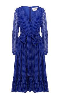 Шелковое платье-миди с V-образным вырезом и поясом Valentino