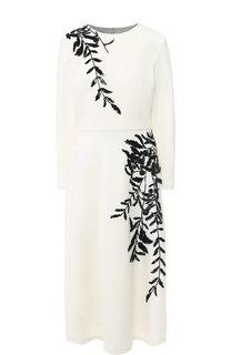 Шерстяное платье-миди с декоративной отделкой Oscar de la Renta