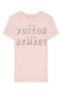 Розовая футболка с надписью Zoe Karssen