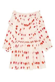 Платье с открытыми плечами Alexander Mc Queen