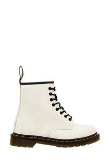 Белые высокие ботинки на шнуровке Dr Martens