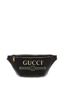 Черная кожаная сумка на пояс Gucci