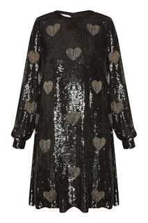 Шелковое черное платье с отделкой Valentino