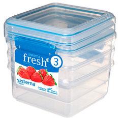 Контейнер для продуктов Sistema 3 Pack Fresh 1.2л Marine Blue (921630)