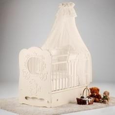 Кроватка Островок уюта Птенчики (белый) маятник поперечный с ящиком