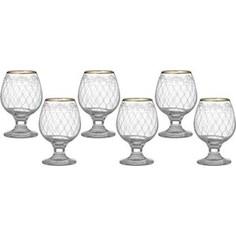 Набор бокалов для бренди 6 штук 250 мл М-Декор Винтаж гравировка золото (1714-ГЗ)