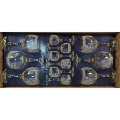 Набор подарочный 12 предметов 6х290мл/6х55мл М-Декор Акация гравировка золото (1614-ГЗ)
