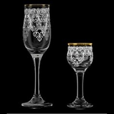 Набор подарочный 12 предметов 6х290мл/6х55мл М-Декор Византия гравировка золото (1614-ГЗ)