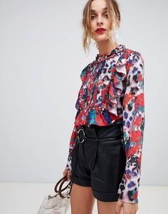 Блузка с оборками и цветочно-леопардовым принтом Lost Ink - Мульти