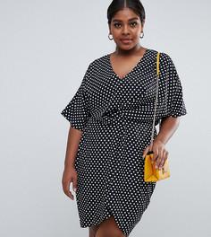 Missguided Plus twist front dress in polka dot - Мульти