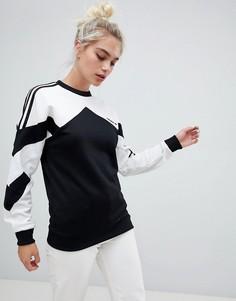 Черный свитшот с контрастными белыми вставками adidas Originals - Мульти