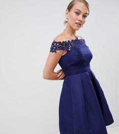 Платье асимметричной длины с аппликацией Little Mistress Petite - Темно-синий
