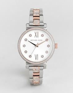 Часы из разных металлов с цветочной отделкой Michael Kors MK3880 Sofie - Серебряный